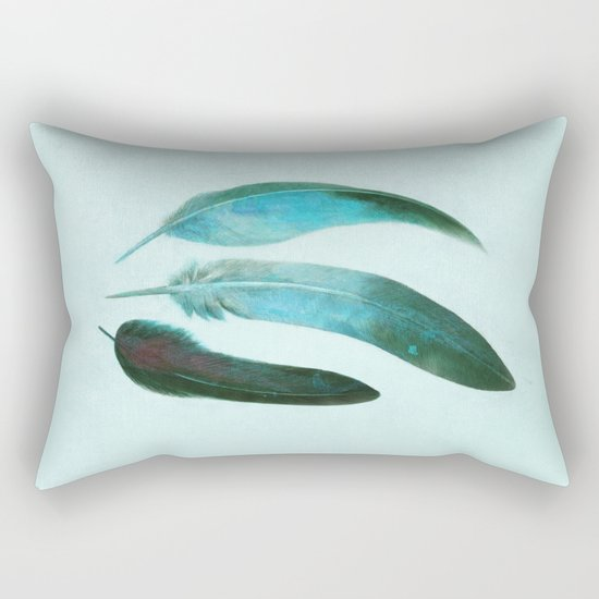 Blue Feathers  Rectangular Pillow