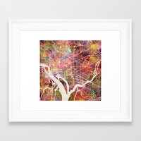 washington Framed Art Prints featuring Washington by MapMapMaps.Watercolors