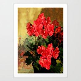 Decorative Red Geraniums  Floral Still Life Art Art Print