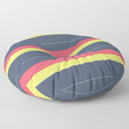 Striped , simple , gray , yellow , red Floor Pillow