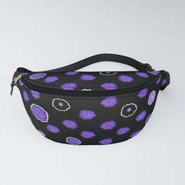 Purple flowers on black Fanny Pack