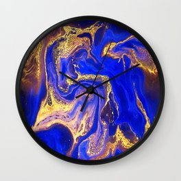 Marble gold and deep blue Wall Clock