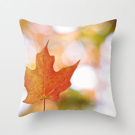 Maple leaf bokeh Throw Pillow