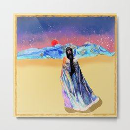 Girl in the Snowy Mountains Yellow Metal Print
