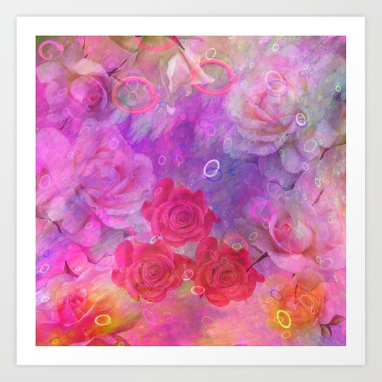 Dream Roses in soft pink, purple and orange Art Print