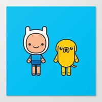 finn and jake Canvas Prints featuring #48 Jake and Finn by Brownjames Prints