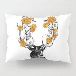 The Stag and Roses | Deer and Flowers | Orange | Vintage Stag | Vintage Deer | Antlers | Woodland | Pillow Sham