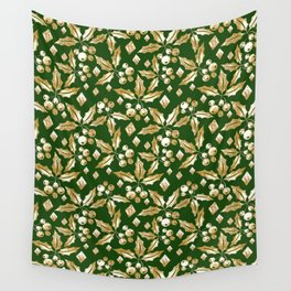 Christmas pattern.Gold sprigs on a dark green background. Wall Tapestry