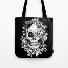 floral skull drawing black and white 2 Tote Bag