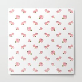 Pink Roses Repeat Pattern Metal Print