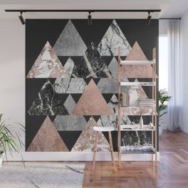 Marble Rose Gold Silver and Floral Geo Triangles Wall Mural