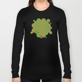 op art pattern retro circles in green and orange Long Sleeve T-shirt