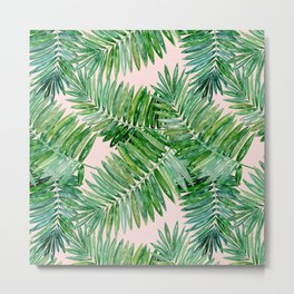 Green palm leaves on a light pink background. Metal Print