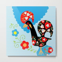 Portuguese Rooster of Luck with blue dots Metal Print