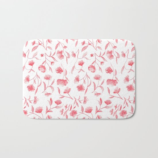 Red Watercolor Floral Pattern Bath Mat