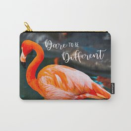"""Dare to be Different"" Quote Cute, Chic, Orange Pink Flamingo Photo Carry-All Pouch"
