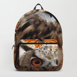 ORANGE BUTTERFLIES OWL IN TREE WHITE ART DESIGN ART Backpack