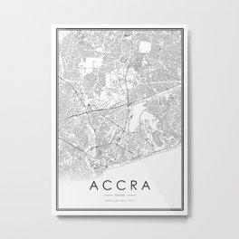 Accra City Map Ghana White and Black Metal Print