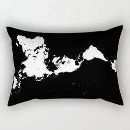Dymaxion World Map (Fuller Projection Map) - Minimalist White on Black Rectangular Pillow