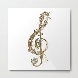 Musical Instruments - Treble Clef Metal Print