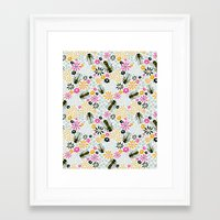 bees Framed Art Prints featuring Bees by Yellow Button Studio