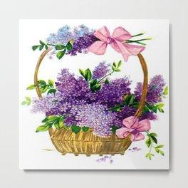 Vintage Lilacs Antique Basket Metal Print