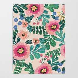 Colorful Tropical Vintage Flowers Abstract Poster