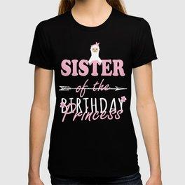 Sister Of The Birthday Princess Llamazing Girl Llama Party print T-shirt