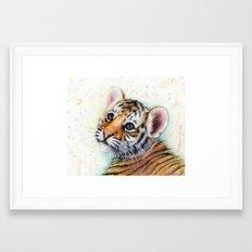 Tiger Cub Watercolor Cute Baby Animals Framed Art Print