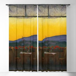 A Clean, Well-lighted Place (Room with a View) landscape painting by Harald Sohlberg Blackout Curtain