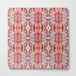 Beautiful Red Foklore Damask Pattern Metal Print