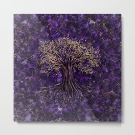 Tree of life -Yggdrasil Amethyst and Gold Metal Print