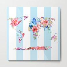 Floral World Stripe Metal Print