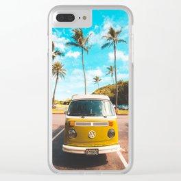 Classic V W Bus at Beach Clear iPhone Case