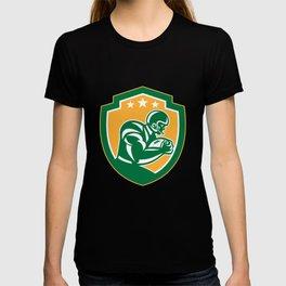 American Football Player Running Shield Retro T-shirt