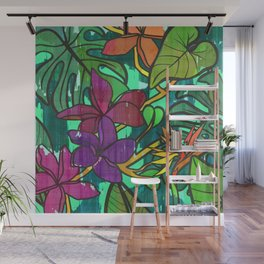Tropical leaves, jungle print Wall Mural