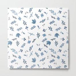 Watercolor indigo blue white botanical floral Metal Print