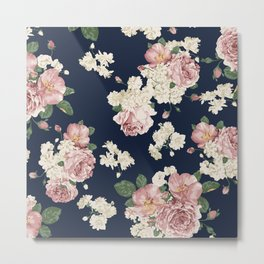 Pink Roses on dark blue pattern Metal Print