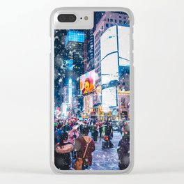 People and famous led advertising panels in Times Square during snow, one of the  symbol of New York Clear iPhone Case