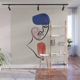 Minimalistic line art female face no2 Wall Mural