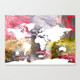 Grunge colorful world map Canvas Print