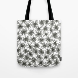 Black Daisy Pattern Tote Bag