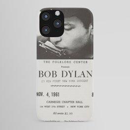 Vintage 1961 Bob Dylan Carnegie Hall Folk Festival Concert Gig Poster iPhone Case