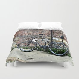 Bicycle Against Red Brick Wall Duvet Cover