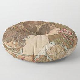 PRIMROSE Flower 1899 Alphonse Mucha Floor Pillow