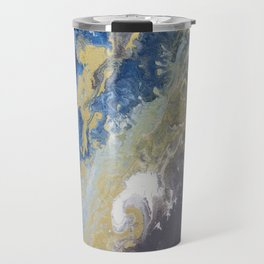 Blue, grey, and gold. Travel Mug
