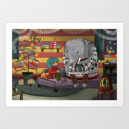 A Cosy Christmas Art Print