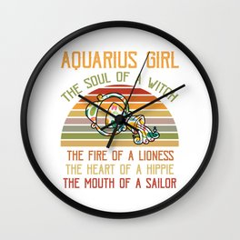 Aquarius zodiac sign Aquarius girl horoscope Wall Clock