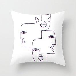 Faces Line Art Throw Pillow