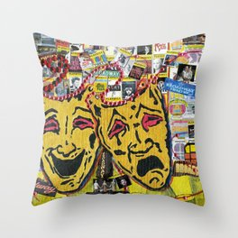 Broadway Theatre Masks Collage Throw Pillow